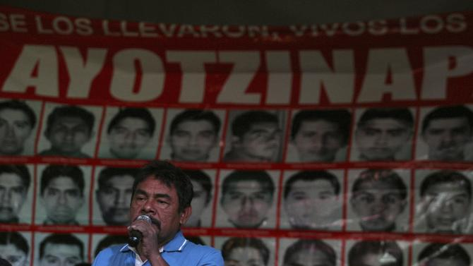 De la Cruz, father of a missing student of the Ayotzinapa Teacher Training College Raul Isidro Burgos, speaks during a news conference at the Miguel Agustin Pro Juarez Human Rights Center in Mexico City