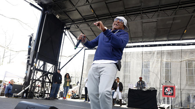"""""""Condom Style"""" rapper Cassidy performs at the AIDS Healthcare Foundation's """"Keep The Promise On AIDS"""" March and Rally on Saturday, April 6, 2013, in New York, NY. The """"Keep the Promise"""" campaign brings together advocates along with entertainers and spiritual and political leaders to remind elected officials that the fight against HIV/AIDS is not yet won. (Brian Ach /AP Images for AIDS Healthcare Foundation)"""