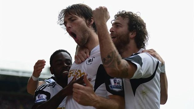 Michu of Swansea City celebtates his goal during the Barclays Premier League match between Crystal Palace and Swansea City (Getty Images)