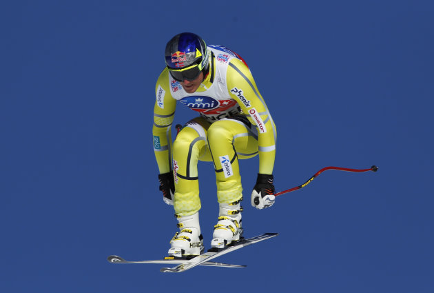 ** CORRECTS THE COUNTRY IN CAPTION ** Norway's Aksel Lund Svindal in action during a men's alpine skiing, World Cup downhill training session in Wengen, Switzerland, Thursday Jan. 12, 2012. (AP Photo/