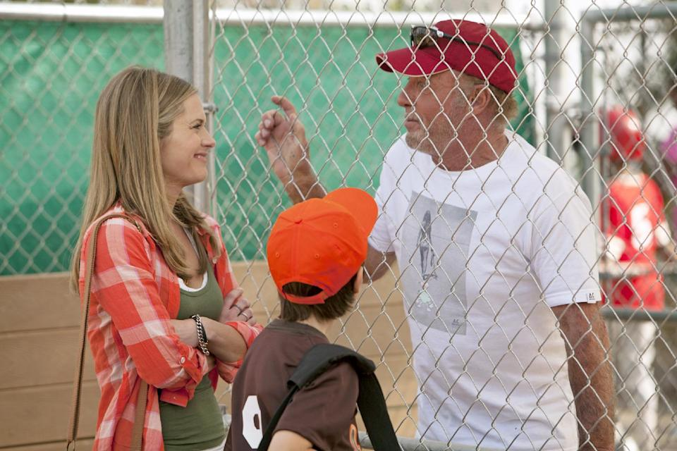 "This TV publicity image released by ABC shows Maggie lawson, left, and James Caan, right, in a scene from the new series ""Back in the Game,"" premiering this fall.  (AP Photo/ABC, Randy Holmes)"