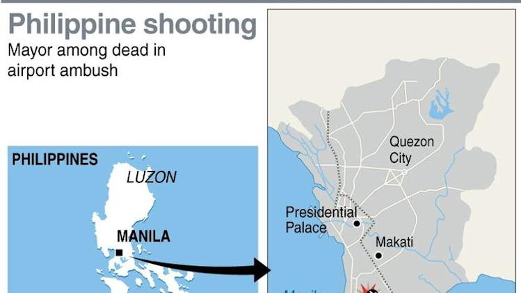 Map showing Manila airport where four people including the mayor of a southern Philippine town were killed Friday in a shooting