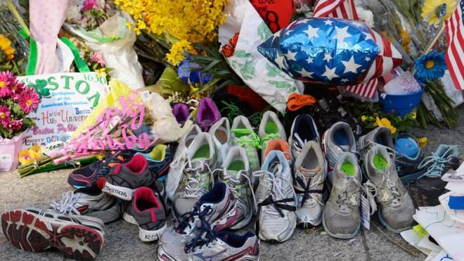 A makeshift memorial lies near the site of the finish line of the Boston Marathon.