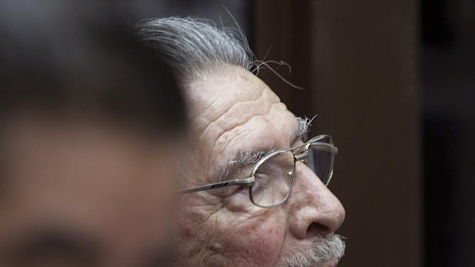 Guatemala's former dictator Jose Efrain Rios Montt attends his hearing in Guatemala City, Monday, Jan. 28, 2013. Rios Montt, a former U.S.-backed dictator who presided over one of the bloodiest periods of Guatemala's civil war, will stand trial on charges he ordered the murder, torture and displacement of thousands of Mayan Indians, a judge ruled Monday. (AP Photo/Moises Castillo)