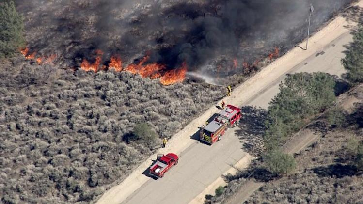 Crews Battle Pine Fire in Gorman Area