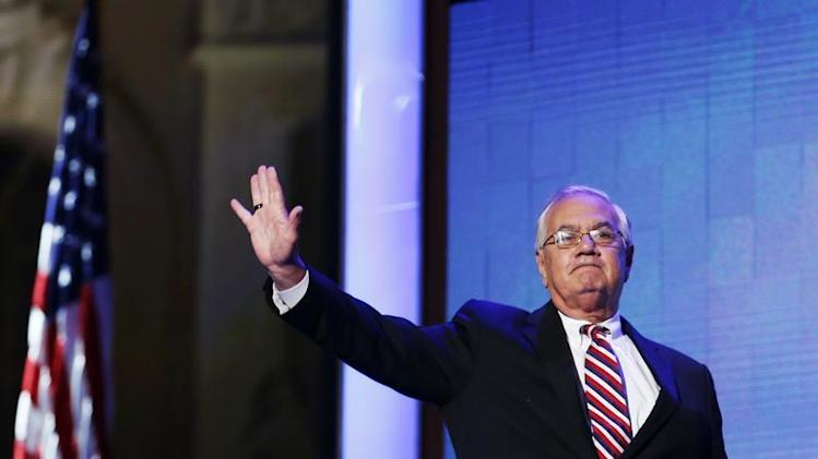 Rep. Frank waves during the final session of the Democratic National Convention in Charlotte