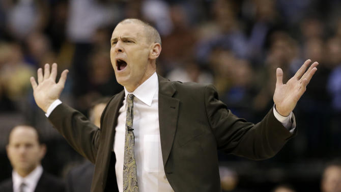 Rick Carlisle shouts at officials after his team was charged with a foul in the second half of an NBA basketball game against the San Antonio Spurs, Friday, Jan. 25, 2013, in Dallas. The Spurs won 113-107. (AP Photo/Tony Gutierrez)