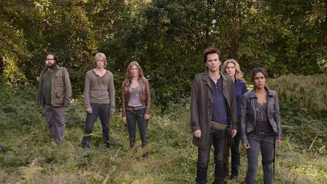 """This publicity image released by NBC shows, from left, Zak Orth as Aaron, Graham Rogers as Danny Matheson, Tracy Spiridakos as Charlie Matheson, Billy Burke as Miles Matheson, Elizabeth Mitchell as Rachel Matheson, and Daniella Alonso as Nora from the series, """"Revolution,"""" returning March 25, 2013 on NBC. (AP Photo/NBC, Brownie Harris)"""