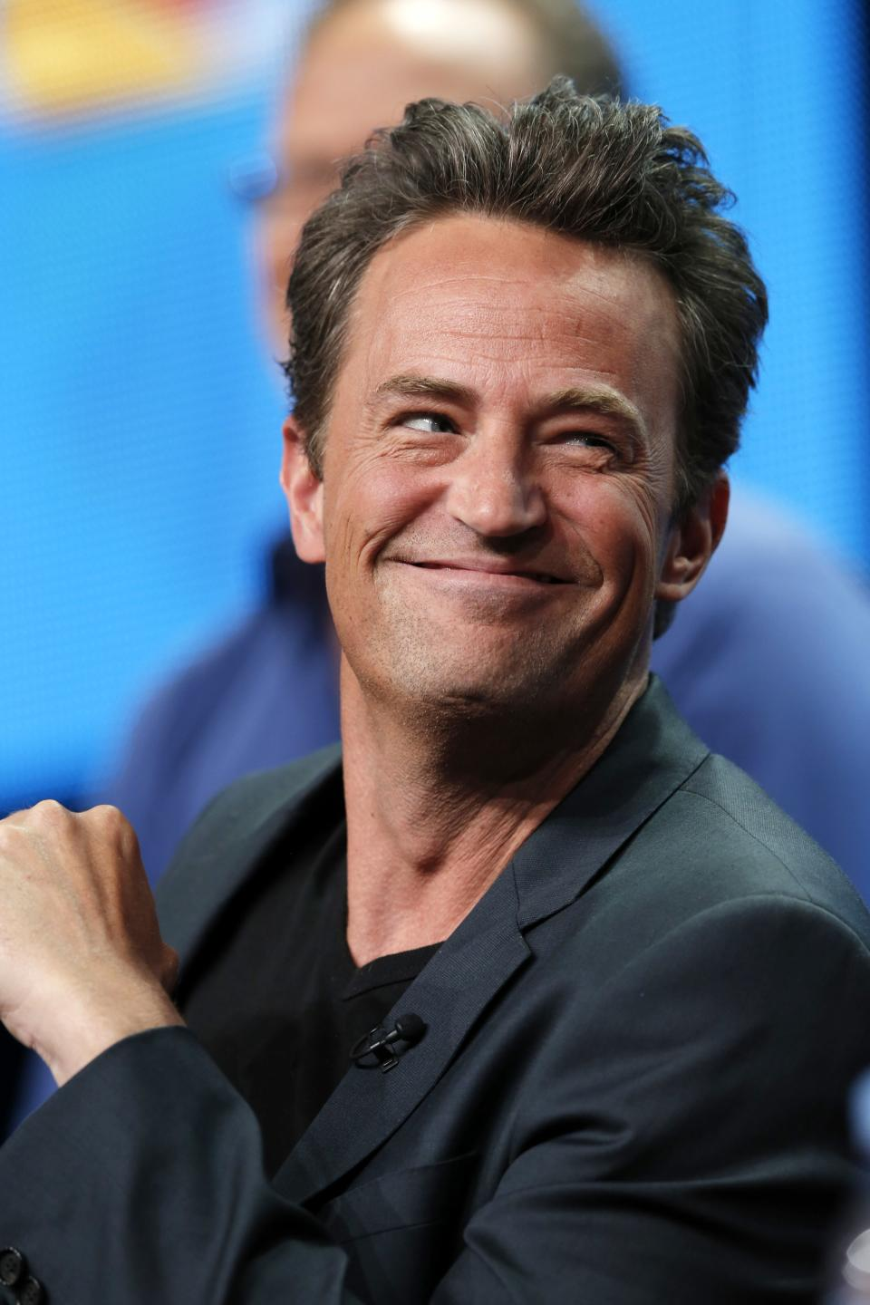 "This Tuesday, July 24, 2012 photo released by NBC shows Matthew Perry from the upcoming series ""Go On,""  during the NBCUniversal Press Tour in Beverly Hills, Calif. The series premieres Sept. 11, at 9 p.m. EST on NBC. (AP Photo/NBC, Chris Haston)-"