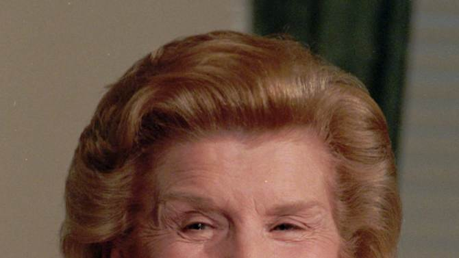 FILE - In this Aug. 30,1994 file picture, former first lady Betty Ford talks with reporters at the Old Executive Building in Washington D.C. On Friday, July 8, 2011, a family friend said that Ford had died at the age of 93. (AP Photo/Doug Mills)