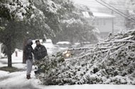 Bayron Zamora, right, 15, and Jarell Finley, 17, look at a down tree as heavy snow created issues with down lines and trees during a rare October snowstorm that hit the Northern New Jersey region, Saturday, Oct. 29, 2011, in Lodi, N.J. (AP Photo/Julio Cortez)