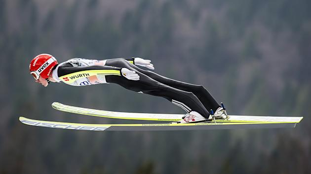 Germany's Richard Freitag jumps during the FIS Ski Flying World Cup 2011-2012 in Planica on March 18, 2012.  AFP PHOTO / Jure Makovec (Photo credit should read Jure Makovec/AFP/Getty Images)