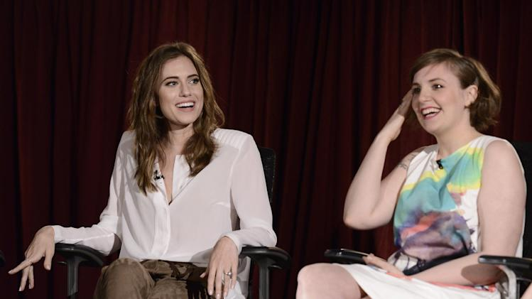 "EXCLUSIVE - Allison Williams, left, and Lena Dunham participate in a panel at ""An Evening with GIRLS"" on Thursday, March 13, 2014, at the Television Academy in the NoHo Arts District in Los Angeles. (Photo by Dan Steinberg/Invision for the Television Academy/AP Images)."