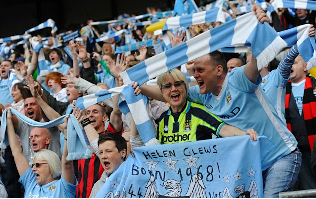 Manchester City's Supporters Celebrate   RESTRICTED TO EDITORIAL USE. No Use With Unauthorized Audio, Video, Data, AFP/Getty Images