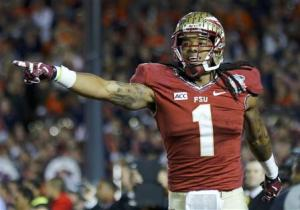 Florida State Seminoles Benjamin celebrates after catching the game winning touchdown pass agasinst the Auburn Tigers in the fourth quarter during the BCS Championship football game in Pasadena