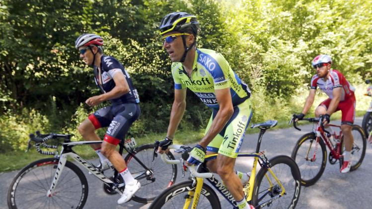 Tinkoff-Saxo team rider Tosatto of Italy cycles among the pack during the 237.5km 16th stage of the Tour de France cycling race between Carcassonne and Bagneres-de-Luchon