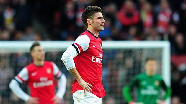 Olivier Giroud reacts after Arsenal's FA Cup defeat to Blackburn (PA Photos)