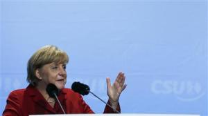 German Chancellor Merkel gives a speech during a Christian Democratic Union election campaign meeting in Augsburg