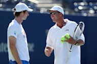 Andy Murray of Great Britain talks with his coach, Ivan Lendl, during the US Open in New York on September 9. A grim-faced Lendl watched Murray throughout the US Open, but even his stoic countenance wavered just a bit as he watched his pupil celebrate a long-awaited first Grand Slam title on Monday