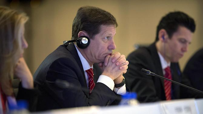 Alexander Zhukov, head of the 2022 Evaluation Commission for the International Olympic Committee (IOC), listens to a speech during a closing ceremony at the end of the IOC's visit to inspect Beijing's 2022 Winter Olympics bid in Beijing, Saturday, March 28, 2015. (AP Photo/Mark Schiefelbein, Pool)