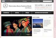The homepage of Mercedes-Benz Fashion Week Australia