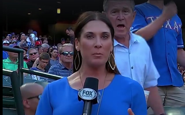 George Bush photobombs reporter