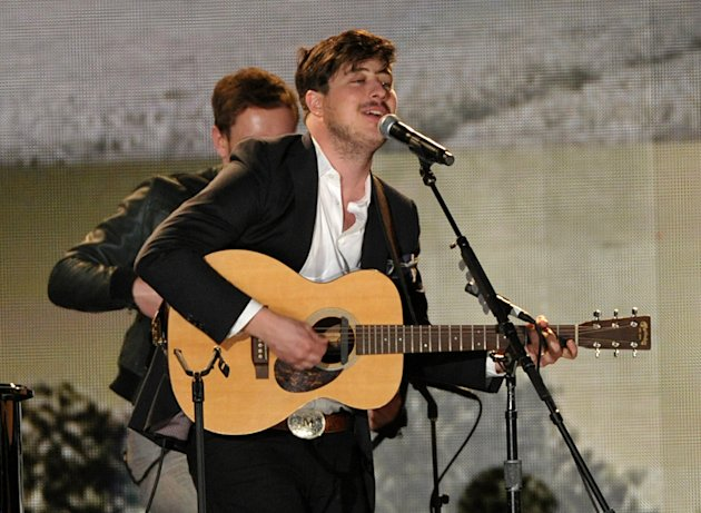 Marcus Mumford performs a tribute to Levon Helm at the 55th annual Grammy Awards on Sunday, Feb. 10, 2013, in Los Angeles. (Photo by John Shearer/Invision/AP)