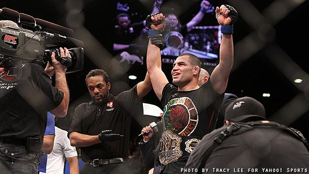 Cain Velasquez celebrates after beating Junior dos Santos at UFC 155. (Courtesy: Tracy Lee for Y! Sports)