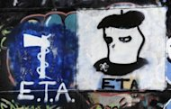 The ETA logo on display in the northern Spanish village of Oquendo. French police Wednesday arrested an ETA member wanted in connection with a planned missile attack on then Spanish prime minister Jose Maria Aznar in 2001, in the latest blow against the Basque separatist group