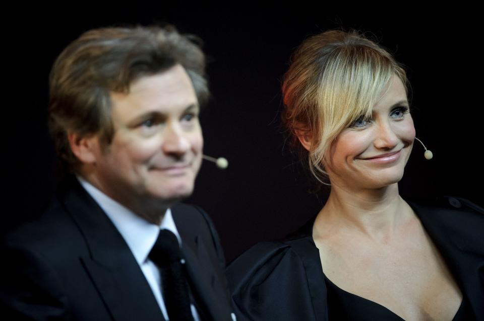 Colin Firth, Cameron Diaz seen at Meet the Filmmakers: Gambit at The Apple Store on Wednesday, Nov. 7, 2012, in London. (Photo by Jonathan Short/Invision/AP)