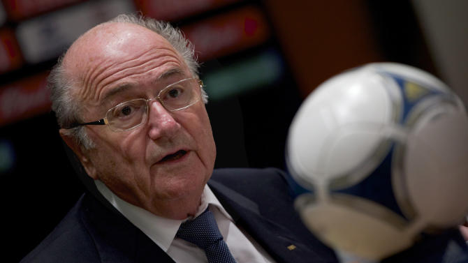 FILE - This is a Sunday, Sept. 30, 2012 file photo of FIFA President Sepp Blatter speaks during a news conference in Moscow, Russia. Blatter is in Mauritius attending a FIFA congress meeting that continued Wednesday May 29, 2013. (AP Photo/Ivan Sekretarev, File)
