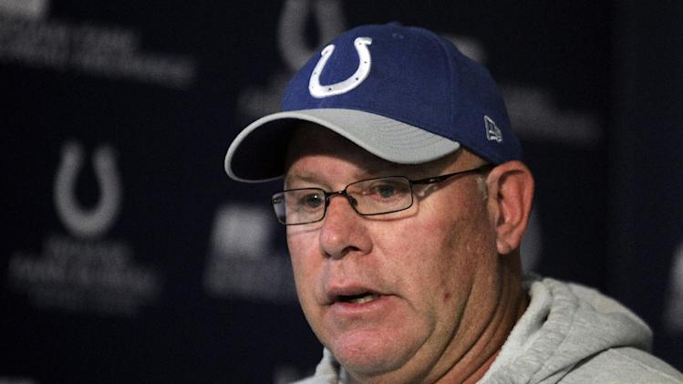Indianapolis Colts interim head coach Bruce Arians talks about head coach Chuck Pagano, who has been diagnosed with acute promyelocytic leukemia, during an NFL football news conference at the team's headquarters in Indianapolis, Monday, Oct. 1, 2012. (AP Photo/Michael Conroy)