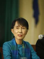 Myanmar democracy leader Aung San Suu Kyi talks during a peace and reconcilitation forum in Yangon on August 4. Since taking office last year, President Thein Sein has overseen a number of dramatic changes such as the release of hundreds of political prisoners and the election of opposition leader Suu Kyi to parliament
