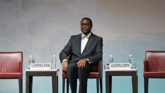 The new president of the African Development Bank (AfDB) Akinwumi Adesina of Nigeria sits during his investiture ceremony in Abidjan