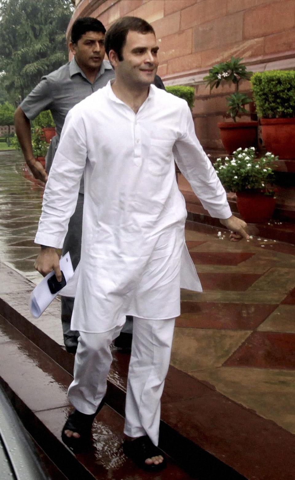 New Delhi: Congress General Secretary Rahul Gandhi at Parliament House in New Delhi on Friday, during the ongoing monsoon session. PTI Photo(PTI8_26_2011_000193B)