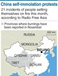 Graphic showing the ethnic Tibetan regions of China where protesters have set themselves alight this month