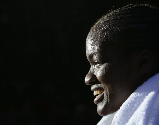 Great  Britain's Nicola Adams leaves the ring following a fight against  India's Chungneijang Mery Kom Hmangte in the women's flyweight 51-kg semifinal boxing match at the 2012 Summer Olympics, Wednes