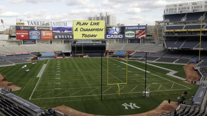 The field at Yankee Stadium appears converted for Saturday's scheduled NCAA college football game between Notre Dame and Army, Wednesday, Nov. 17, 2010, in New York. (AP Photo/Kathy Willens)
