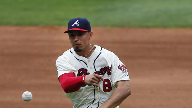 Atlanta Braves second baseman Jace Peterson (8) throws out Milwaukee Brewers' Luis Sardinas in the fourth inning of a baseball game Sunday, May 24, 2015, in Atlanta. (AP Photo/John Bazemore)