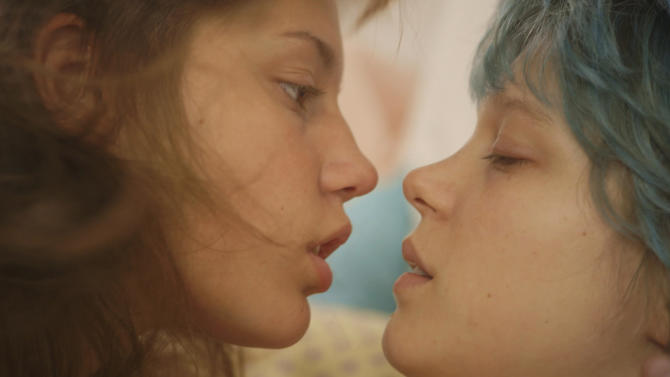 """This photo released by courtesy of Sundance Selects shows Adele Exarchopoulos, left, as Adele, and Lea Seydoux, as Emma, in the film, """"Blue Is the Warmest Color,"""" directed by Abdellatif Kechiche. (AP Photo/Courtesy Sundance Selects)"""