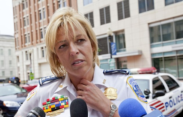 Washington Police Chief Cathy Lanier meets with reporters near the Family Research Council in Washington, Wednesday, Aug. 15, 2012, after a security guard for the lobbying group was shot in the arm. A