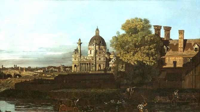 "This undated picture publicly provided by Museum Kunstpalast Duesseldorf, shows a painting by Bernardo Belotto with the St. Charles Church in Vienna. It is one of two disputed works of art. The German government has refused a request to hand back two paintings once owned by a Jewish businessman who was persecuted by the Nazis. Germany's Finance Ministry says it won't return the 18 century paintings by Bernardo Bellotto to the heirs of Max Emden because he had already fled to Switzerland when he sold them. The ministry said in a statement Wednesday Dec. 18, 2013 that this meant the paintings couldn't be considered ""forced sales."" Emden's heirs maintain that their grandfather sold the paintings because he needed money after his department stores in Germany had been seized by the Nazis. (AP Photo/Stiftung Museum Kunstpalast, Horst Kolberg)"