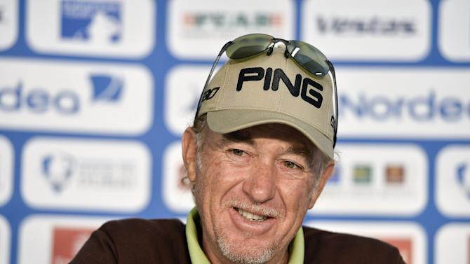 Miguel Angel Jimenez of Spain talks during a news conference ahead of the Nordea Masters PGA Sweden National European Tour tournament at Bara