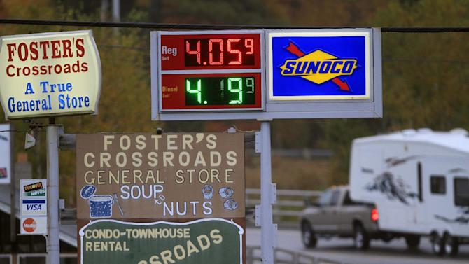 Gas prices are seen over $4.00 a gallon, Thursday, Oct. 4, 2012 in Twin Mountain, N.H. The price of oil is higher after tensions rose between Syria and Turkey. Oil rose to $89.21 a barrel Thursday morning, a jump of $1.06, or 1.2 percent, in trading on the New York Mercantile Exchange. (AP Photo/Jim Cole)