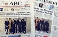Spanish papers handle the photo two different ways: Printing as-is and blurring the faces of the Prime Minister's daughters to protect their identity.