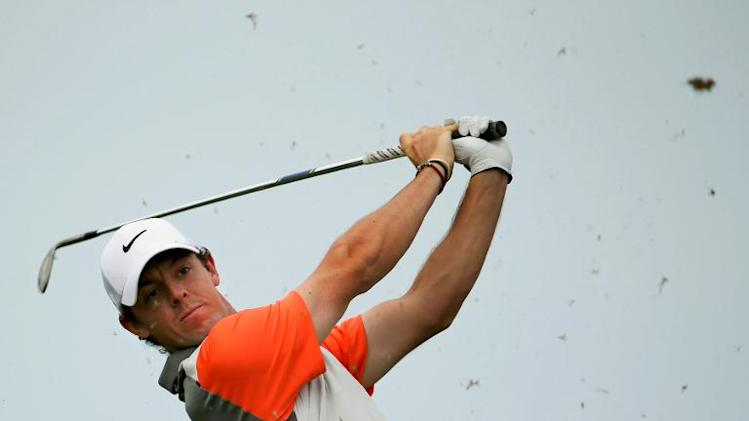 Northern Ireland golfer Rory McIlroy tees off in the fourth and final round of the 2014 Omega Dubai Desert Classic in Dubai, United Arab Emirates on February 2, 2014