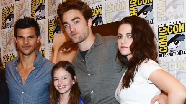 Taylor Lautner, Robert Pattinson, Mackenzie Foy and Kristen Stewart attend 'The Twilight Saga: Breaking Dawn Part 2' during Comic-Con 2012 in San Diego on July 12, 2012 -- Getty Images