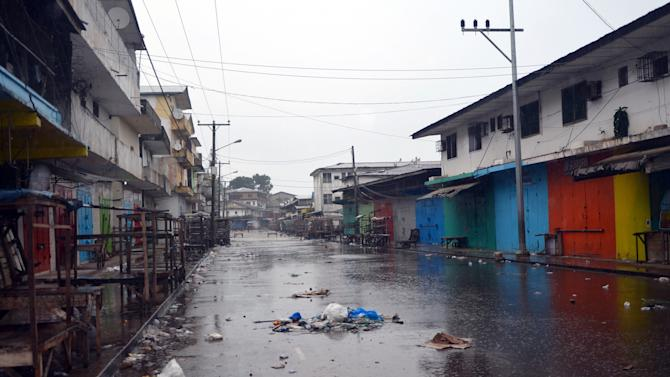 Shops are closed in Monrovia's West Point slum as part of quarantine measures to contain the spread of Ebola on August 20, 2014