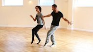 Natalie Gumede and dance partner, Artem, practising their jive