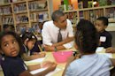 President Barack Obama talks to a class of pre-Kindergarten school children at Moravia Park Elementary School in Baltimore, Md., Friday, May 17, 2013, during the his second &quot;Middle Class Jobs and Opportunity Tour&quot;. (AP Photo/Jacquelyn Martin)